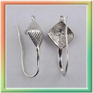 """Extra крючок для серег """"ромб"""" с 2-мя петли (цена за 10шт) никель (thumb9931)"""