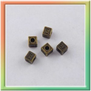 """Бусина металли литая """"Буква """"Е"""""""" 3,5мм (цена за 50шт)  антич.золото (thumb6400)"""