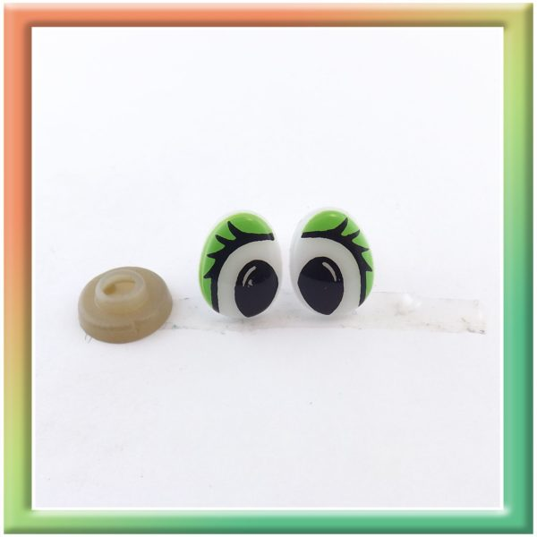 Глазки винт. 13*10мм (50пар) бело/зеленые (thumb6037)