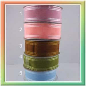 Лента органза с 3 полосками по краю 4см (23м) (thumb8263)